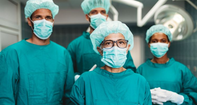 surgeons prepping for a back surgery