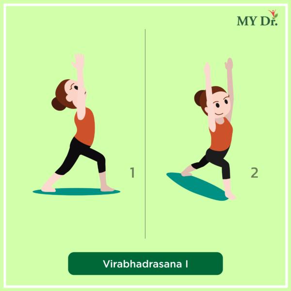 How to perform Virabhadrasana 1