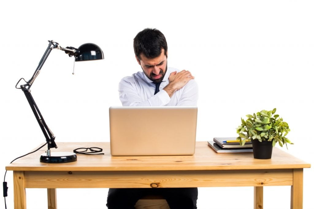 Man working with pain